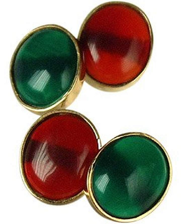 Forzieri Agate and Carnelian 18K Gold Cufflinks