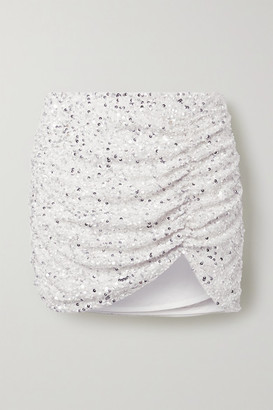 retrofete Celestia Ruched Sequined Crepe De Chine Mini Skirt