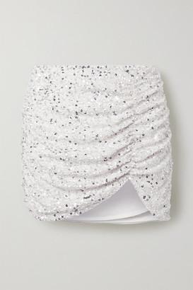 retrofete Celestia Ruched Sequined Crepe De Chine Mini Skirt - White