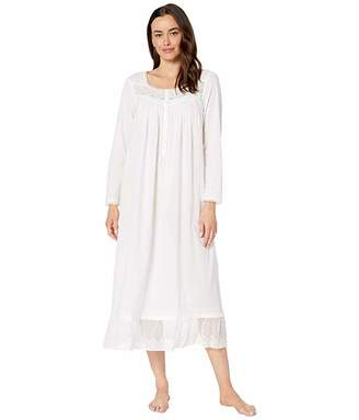 Eileen West Cotton Woven Lawn w/ Netting Embroidery Long Sleeve Ballet Gown