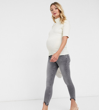 Fashion Union Maternity roll neck top with short sleeve in textured jersey