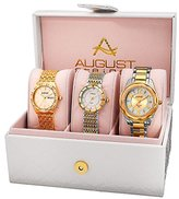 August Steiner Set AS8200YG Watch with Silver, Gold Dial and Gold, Two Tone Bracelet