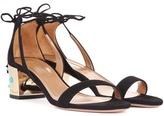 Aquazzura Cleopatra 50 Embellished Suede Sandals