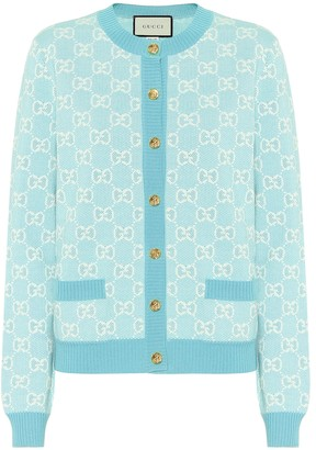 Gucci GG wool and cotton pique cardigan
