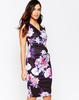 Jessica Wright Erin Cross Front Floral Pencil Dress