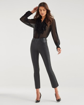 7 For All Mankind High Rise Leather Slim Kick in Jet Black