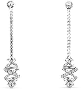 David Yurman Crossover Chain Drop Earrings with Diamonds/54mm