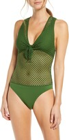 Robin Piccone Bo Crochet One-Piece Swimsuit