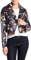 Sam Edelman Faux Leather Floral Front Zip Moto Jacket