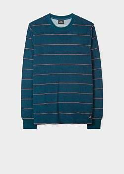 Men's Petrol Blue Stripe Cotton-Blend Terry Towelling Sweatshirt
