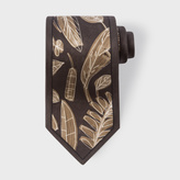 Paul Smith Men's Black 'Abstract Leaves' Print Silk Tie