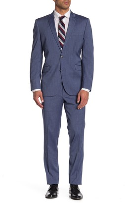 Kenneth Cole Reaction Blue Chambray Two Button Performance Stretch Slim Fit Suit
