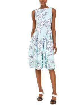 Calvin Klein Floral-Print Midi Fit & Flare Dress