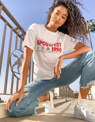 Daisy Street relaxed boyfriend t-shirt with vintage sport graphic