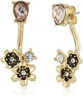 lonna & lilly Gold-Tone and Pink Flower Floater Earrings Jacket