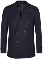 Lardini Navy Textured Wool Blend Blazer