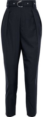 IRO Wana Belted Pleated Pinstriped Wool Tapered Pants