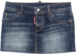 DSQUARED2 Embellished Stretch Cotton Denim Skirt