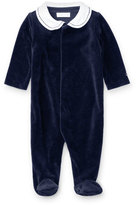 Ralph Lauren Two-Tone Velour Footie Pajamas, Navy, Size Newborn-9 Months