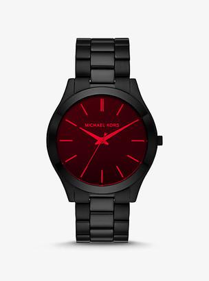 Michael Kors Slim Runway Black-Tone and Red Crystal Watch