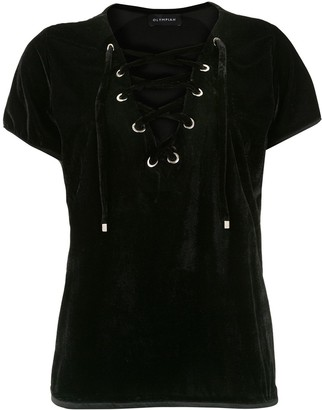 Olympiah Lace-Up Velvet Blouse