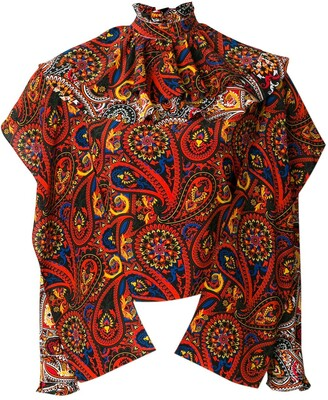 J.W.Anderson Olive Paisley-Print Ruffle Top