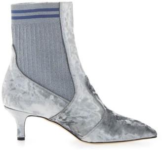 Emanuela Caruso Gray Chenille Ankle Boots