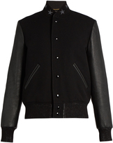 Saint Laurent Wool-blend and leather teddy jacket
