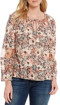 Lucky Brand Tassel Tie-Neck Floral Print Knit Peasant Top