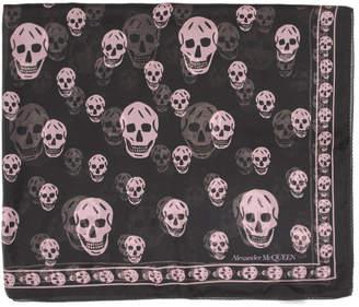 Alexander McQueen Black and Pink Silk Skull Scarf