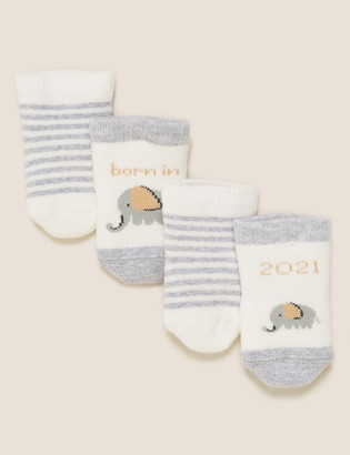Marks and Spencer 2pk Cotton Born in 2021 Baby Socks (0-12 Mths)
