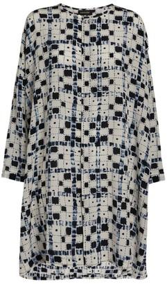 eskandar Geometric Print Silk Blouse