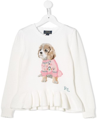 Ralph Lauren Kids dog embroidered sweater