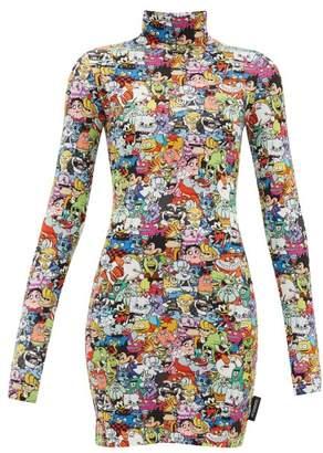 Vetements Cartoon-print Stretch-jersey Mini Dress - Womens - Multi