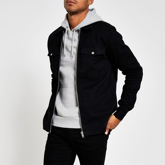 River Island Mens Black zip front regular fit overshirt jacket
