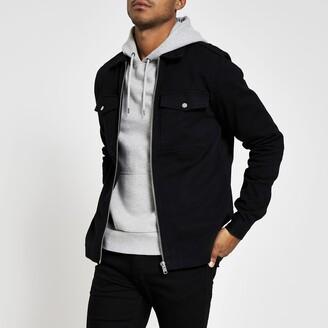 River Island Mens Black zip front regular fit overshirt