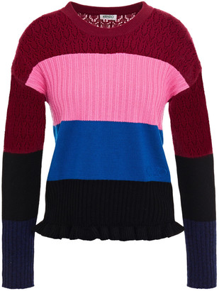 Kenzo Color-block Pointelle-knit Wool And Cashmere-blend Sweater