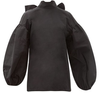 Valentino Bow-back Cotton-blend Faille Blouse - Womens - Black