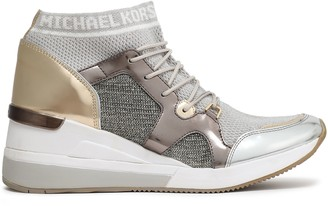 MICHAEL Michael Kors Hilda Faux Leather-paneled Metallic Mesh Wedge Sneakers