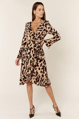 Gini London Long Sleeve Wrap Midi Dress in Leopard Print
