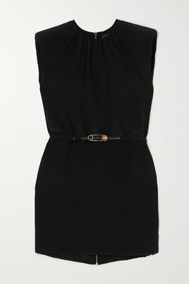 Versace Belted Chiffon Mini Dress - Black