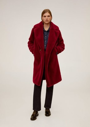 MANGO Maxi lapels faux-fur coat red - XS - Women