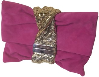 Jimmy Choo Chandra Pink Suede Clutch bags