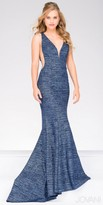 Jovani Marled V-back Flared Evening Dress