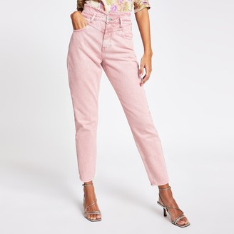 River Island Womens Pink high rise tapered denim jeans
