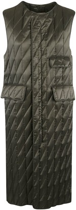 Plan C Rear Zip Quilted Long Gilet