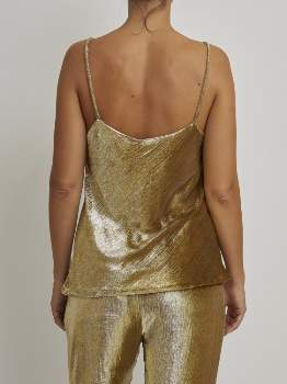 Mes Demoiselles Gold Polyester Top with Straps. HOWE - polyester | gold | silk | 40 - Gold/Gold
