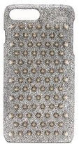 Christian Louboutin Loubiphone Metallic Leather Iphone 7+ & 8+ Case - Womens - Silver