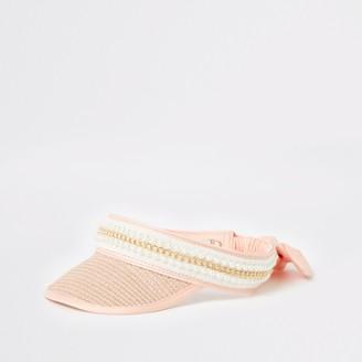 River Island Girls Pink embelllished straw visor hat