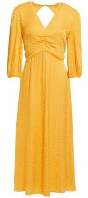 Rebecca Vallance Isobella Ruched Leopard Satin-jacquard Midi Dress
